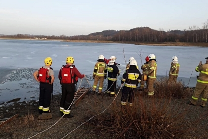 Wieliccy strażacy uratowali tonącego psa. Użyli sań lodowych [ZDJĘCIA]